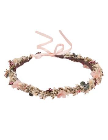 Corona de flores ajustable con cinta de satén en INVITADISIMA