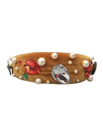 Diadema joya de terciopelo con apliques, perlas y diamantes Mauî Official - 1