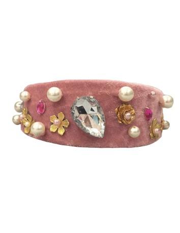 diadema joya perlas diamantes flores boda