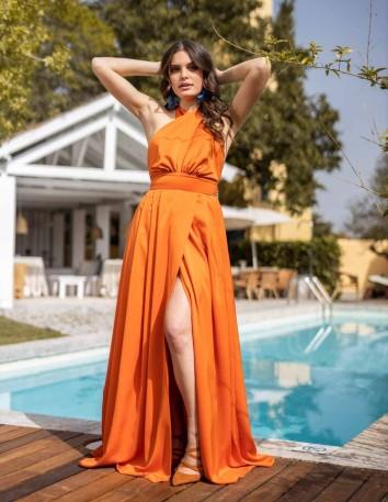 vestido largo naranja fiesta abertura espalda