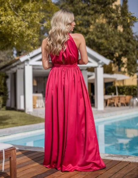 maxi red dress halter neck wide skirt summer