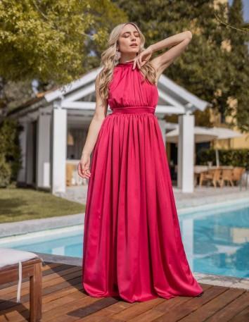 maxi red dress halter neck wide skirt