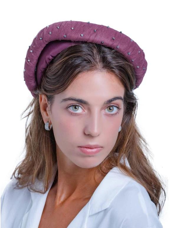 Diadema maxi cruzada burdeos con tul y piedras de Margarita Sangiovanni
