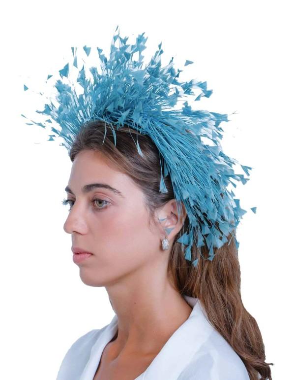 Diadema de plumas naturales azul de Margarita Sangiovanni