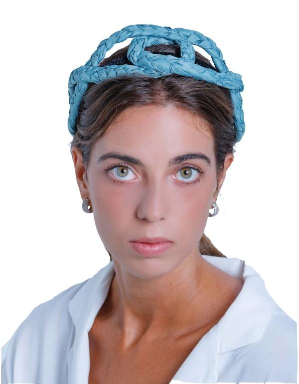 Diadema de trenzas cruzadas azul de Margarita Sangiovanni
