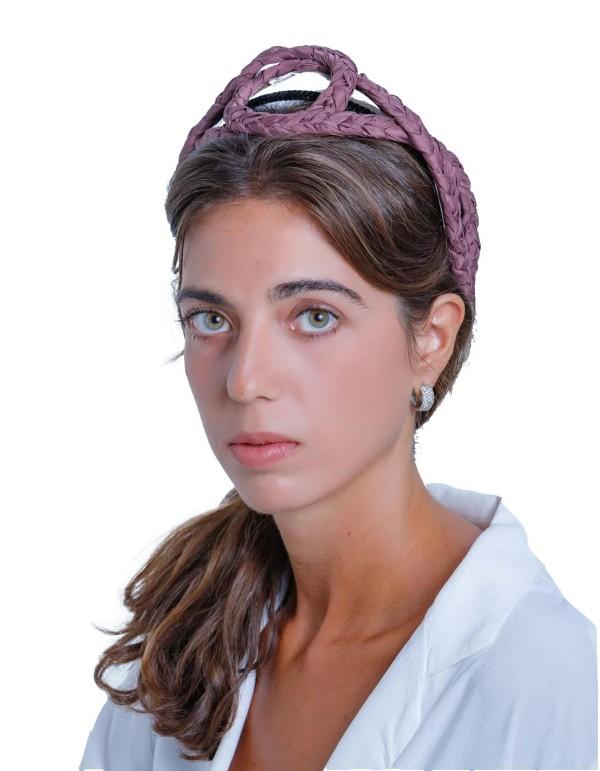 Aubergine cross-braided headband by Margarita Sangiovanni