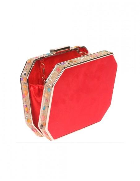 Bolso de fiesta rojo con pedrería lateral - invitada boda