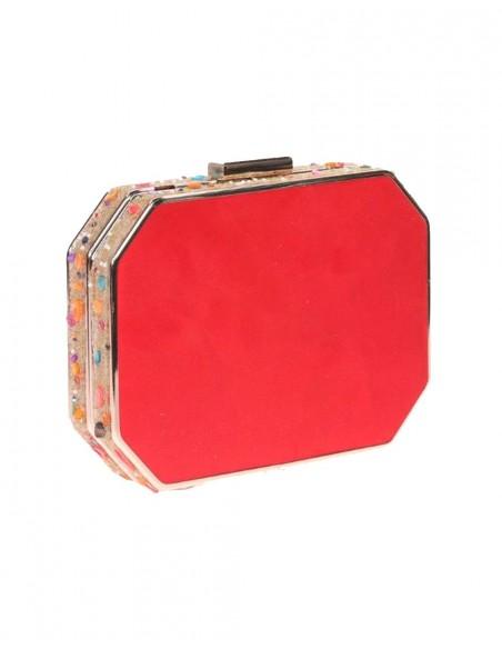 Bolso de fiesta rojo con pedrería lateral - octogonal