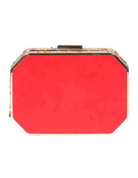 Bolso de fiesta rojo con pedrería lateral