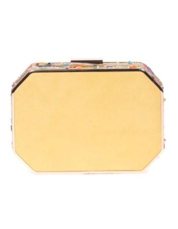 Bolso de fiesta amarillo con pedrería lateral - octogonal