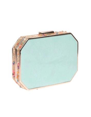Bolso de fiesta azul-menta con pedrería lateral - octogonal