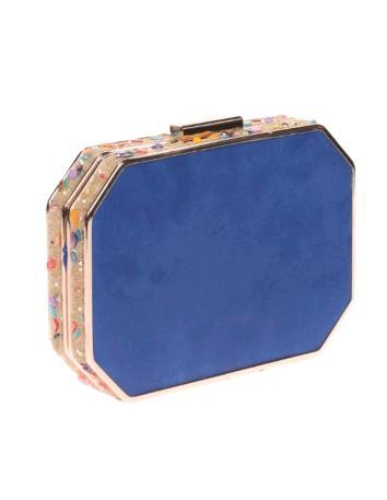 Bolso de fiesta azul klein con pedrería lateral - octogonal