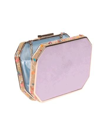 Bolso de fiesta Lila con pedrería lateral - octogonal