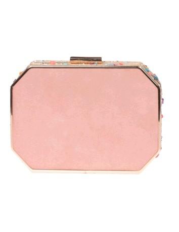 Bolso de fiesta rosa con pedrería lateral - octogonal