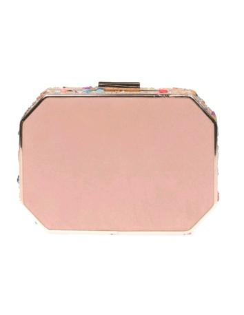 Bolso de fiesta nude con pedrería lateral - octogonal