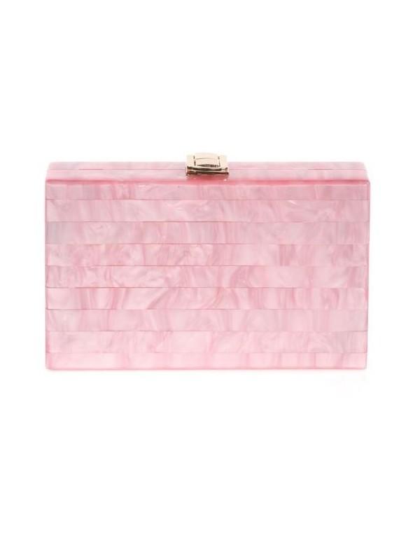 Bolso de fiesta nacarado rectangular - rosa