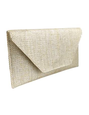 Gold Metalic rafia clutch bag
