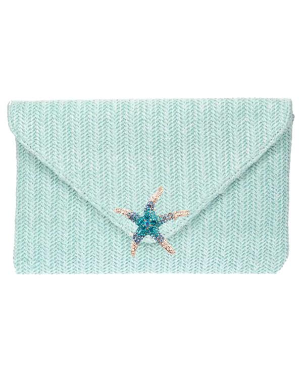 Bolso sobre de fiesta con estrella de strass azul cielo