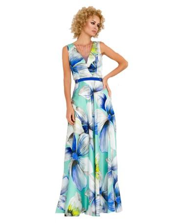 Vestido de fiesta largo con estampado floral azul en INVITADISIMA