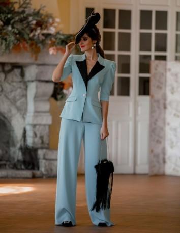 traje pantalon palazzo blazer chaqueta manga abullonada fiesta modelo solapas