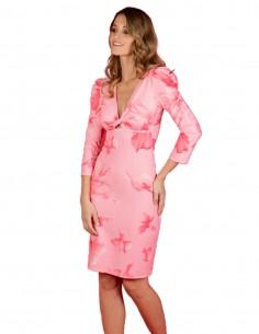 Vestido cóctel rosa estampado con manga larga de CAYRO