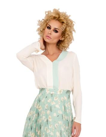 V-neck party blouse with centre stripe design at INVITADISIMA