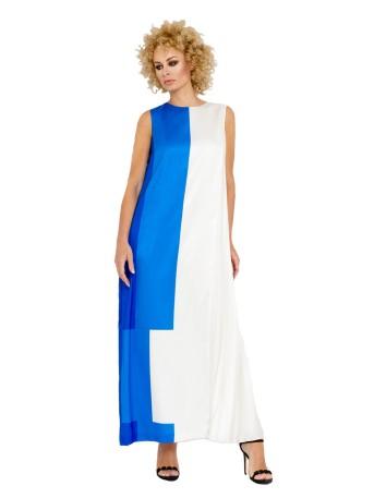 Long round neck bicoloured party dress at INVITADISIMA