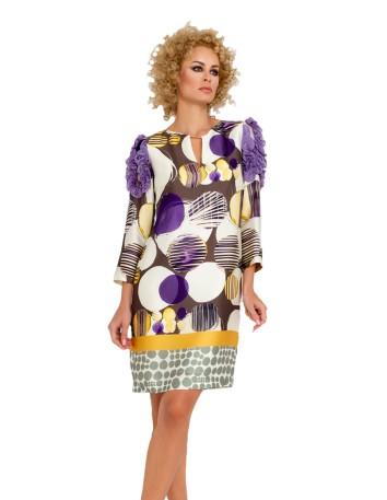 Vestido de cóctel con diseño de estampado y detalles en hombros en INVITADISIMA