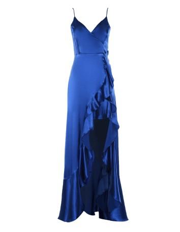 Blue klein satin long gown with waterfall of flounces Lauren Lynn London - 1