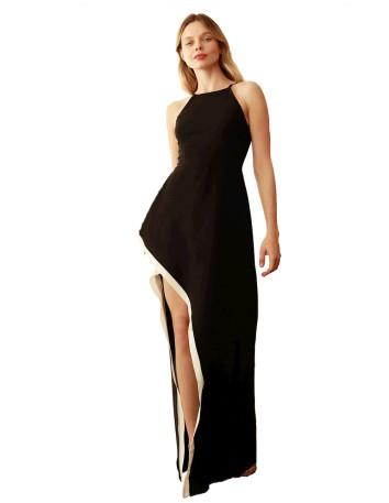 Bicoloured maxi dress with flounce