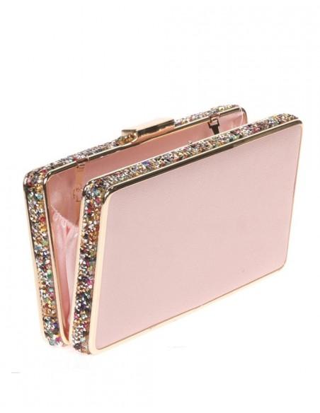 Pink clutch bagwith sidebeading - Bolso de fiesta rosa con pedrería lateral - rectangular