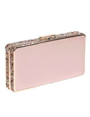 Bolso de fiesta rosa con pedrería lateral - rectangular