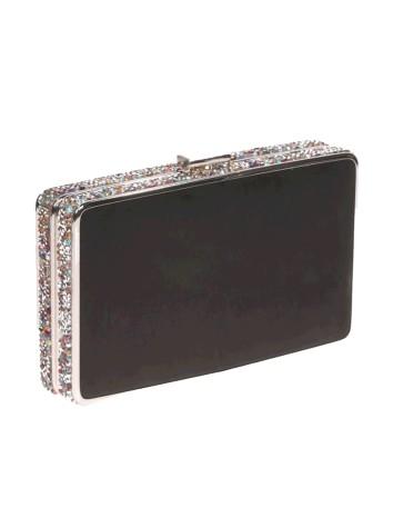 Bolso de fiesta negro con pedrería lateral - rectangular