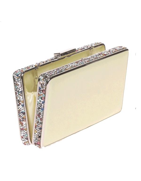 Bolso de fiesta amarillo con pedrería lateral - rectangular