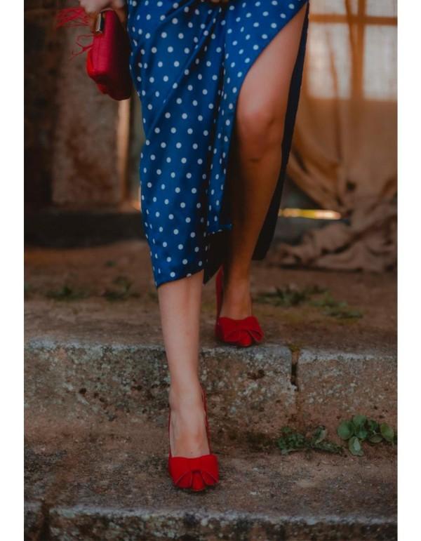Zapatos de fiesta de ante rojo con maxi lazo-INVITADA PERFECTA Robert Vetusta - 2