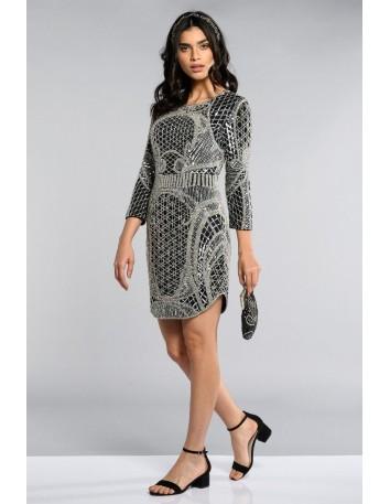 Long sleeve dress in black silver GATSBY