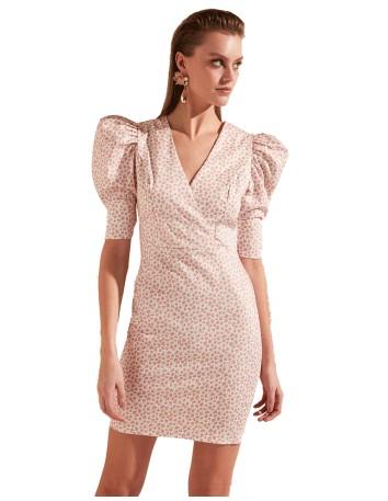 Vestido de Cóctel con manga abullonada y florecitas liberty