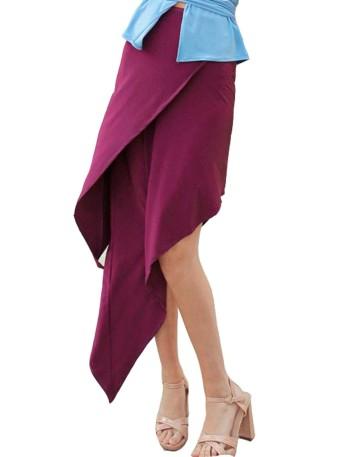Falda midi asimétrica con capas de Anaika
