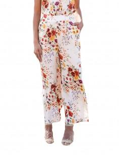 Pantalón culotte blanco con estampado floral en INVITADISIMA