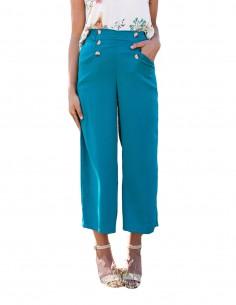 Pantalón culotte liso con botones delanteros en INVITADISIMA