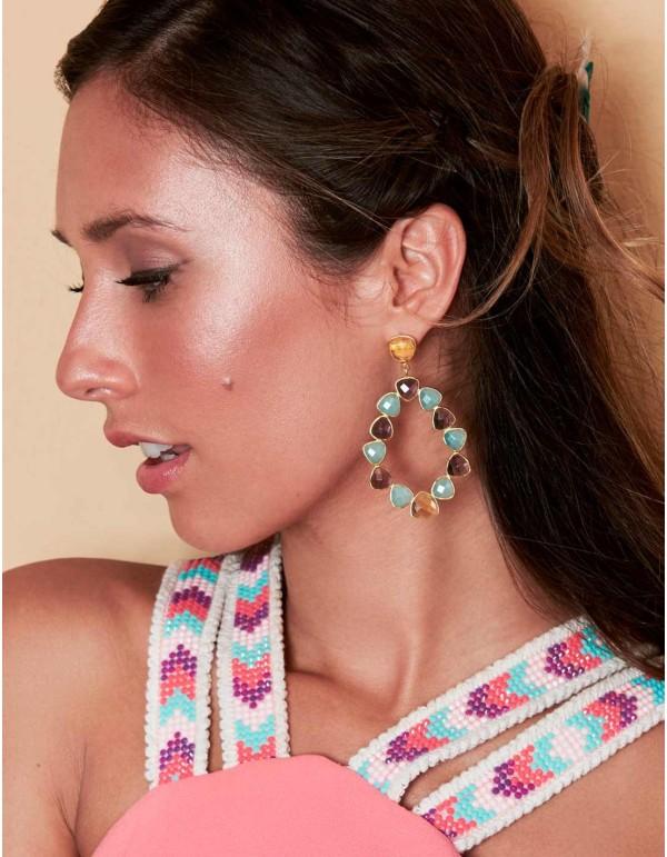 Pendientes de fiesta con piedras multicolor de Lavani