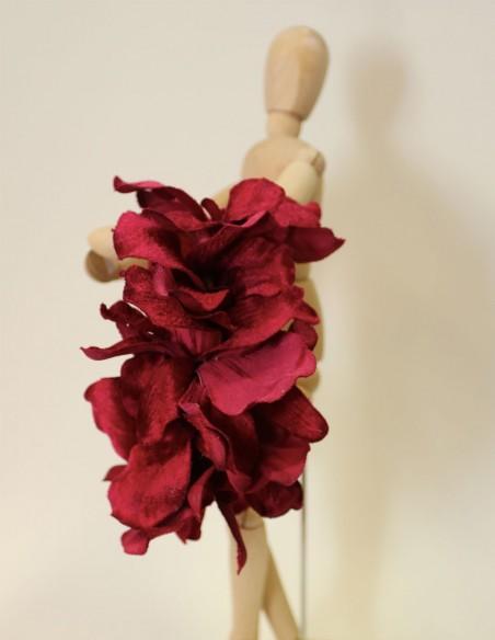 Velvet wine flower headband by VintiVintae