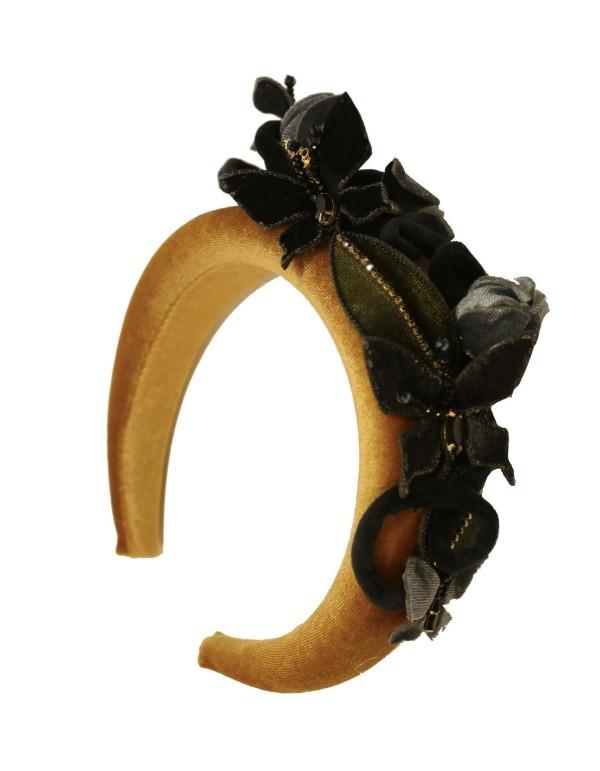 Wide mustard velvet headband with butterflies by VintiVintae