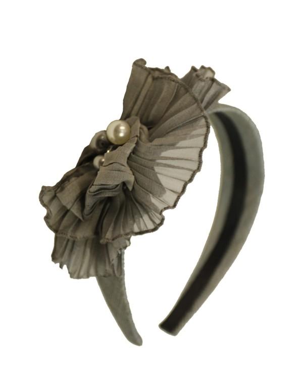 Grey silk Sinamay headband
