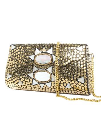 Bolso Cofre rectangular oro y blanco Lauren Lynn London Accessories - 2