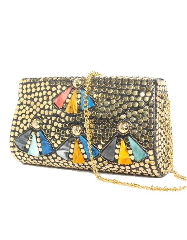 Bolso Cofre rectangular con abanicos