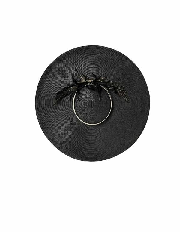 Pamela de ala ancha negra con adorno de plumas
