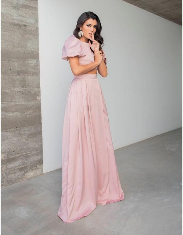 Falda de fiesta larga con diseño pliegues en INVITADISIMA