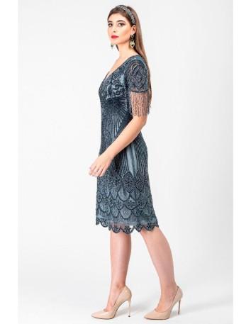 Vestido largo de fiesta diseño lentejuelas en azul grisáceo en INVITADISIMA de Gatsbylady London