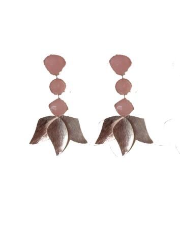 Long silver earrings with...